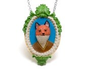 Fantastic Mr. Fox Necklace Wes Anderson Fox Taxidermy Pendant 3D Kawaii Fox Jewelry V Neck Sweater Fox Brooch