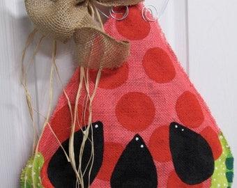 Burlap Watermelon with bow Burlap Door Hanger Summer Burlap