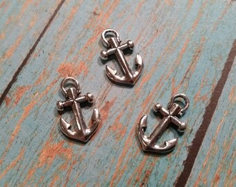 Tierracast ANCHOR Charm, Tierra Cast Silver Plated Nautical Pewter Charms, Ship Components, Sailboat, Lead Free, Made in USA  (94-2359-12)
