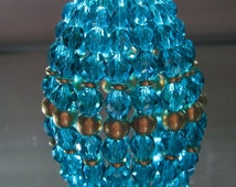 Small Beaded Light Bulb Cover, Dark Aqua Faceted Glass, Gold Chandelier, Brass Beads Chandelier, Chandelier Bulb Shade, Moroccan Lamp Shade