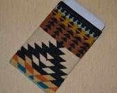 Sale -- WOOL iPAD mini Sleeve cover case - Rancho Arroyo earth tone native print - mini won't slip out - protective sleeve for mini 1 2 3 4