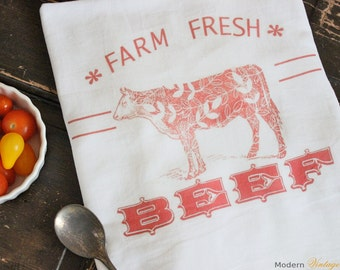 1 Farm Fresh Kitchen Towel -Flour Sack Towels -Tea Towels -  Dish Towels - by Modern Vintage Market