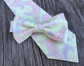 Spring Wedding Ties - Pink and Green Paisley - Green and Pink Ties - Pastel Ties - Groomsmen Ties - Ties for newborn photoshoot - bow tie