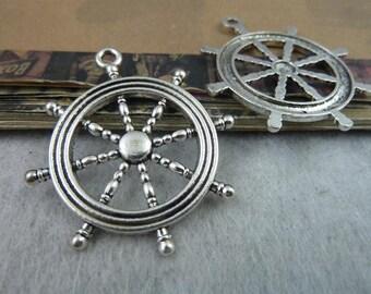 10pcs 40 * 45mm Ancient silver rudder, anchor  charm pendants, Necklace pendants, Jewelry pendants,bracelets pendants