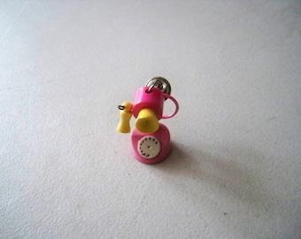 Vintage 1980's Children's Plastic Old Time telephone Charm