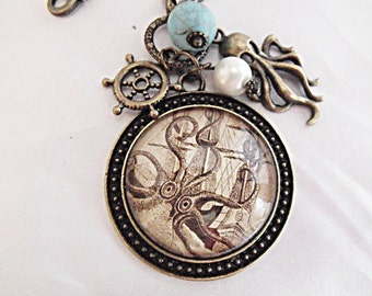 Bronze Pendant Necklace,  Steampunk Giant Squid Attacking Ship, With Pearl and Turqouise Bead,  Charms Womens gift  Handmade