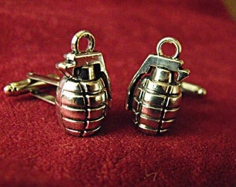 Mens Silver Cufflinks, Hand Grenades  Mens Accessories  Handmade