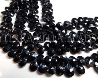 """4"""" half strand black SPINEL faceted pear briolette beads 8mm - 9mm"""