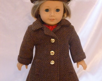 Brown tweed wool coat with beret for 18 inch doll c003