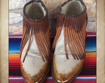 Hand Painted Fringe Cowgirl Boots size 7M by Acme