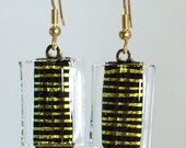 Fused Dichroic Art Glass Dangling Earrings Gold Black Tribal Design With A Clear Ribbed Over Glass