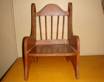 Vintage Wood Doll Chair Spindle Back