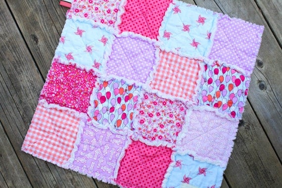 20% Off Summer Sale, On Parade, Pink and Blue and Coral and Lavender Rag Quilt Lovey, Ready toShip
