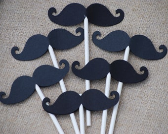 Little Man Mustache Birthday/ Baby Shower Cupcake Toppers