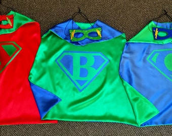 BUNDLE SUPEHERO PARTY Pak of  Boys & Girls Reversible Super Hero Capes and Masks for Birthday Party Gifts