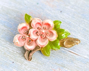Pink Flower Lapel Pin - Antique Celluloid Brooch
