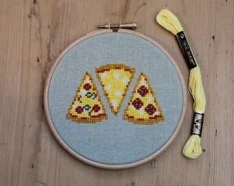 Cute Pizza Slices Cross Stitch Embroidery Hoop Art