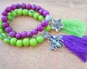 Acai Seed Beaded Bracelet Tassel Green or Purple Yoga Boho Mala