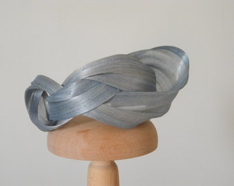 Light blue cocktail hat for women, sculpture blue fascinator, unusual one of a kind headband