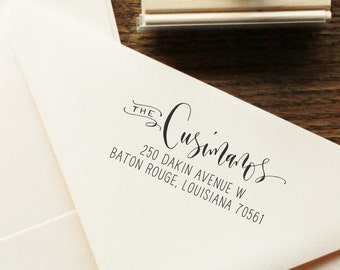 Custom Modern Handwritten Calligraphy Return Address Stamp -- Mixed Calligraphy and type - Rebel Stout Style