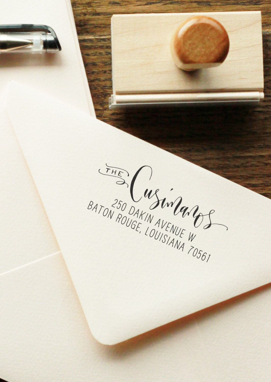 Custom Modern Handwritten Calligraphy Return Address Stamp