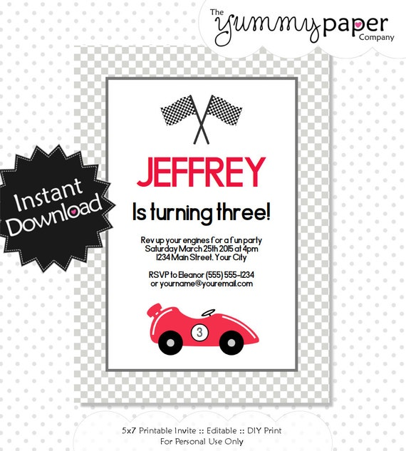 Editable Race Car Invitation Instant Download Printable – Printable Car Template