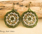 Beaded Mandala earrings - olivine - gray - green - Huichol jewelry - disc - round - circle