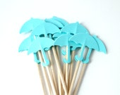 Blue Umbrella Cupcake Toppers, Baby Shower, Cake Topper, Food Pick, Baby Boy, Set of 10