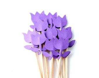 Purple Tulip Cupcake Toppers, Flower Cake Topper, Showers, Birthdays, Weddings