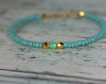 Turquoise/Gold/Mint Beaded Bracelet