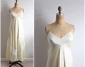 Sunshine Yellow Lace Slip Dress. Wedding Slip. Lace lingerie. Nightgown. Size S/M
