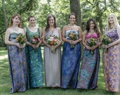 RESERVED FOR CHELSEY - Three bridesmaid dresses- knit top with silk sari skirts