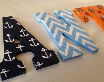 Custom Painted Children's Wall Letters - Nautical / Sailboat Theme