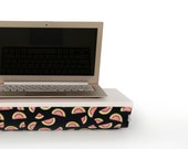 Computer riser cushion tray, iPad stand or wooden Breakfast in Bed serving Tray -pastel grey tray, black watermelon pattern pillow