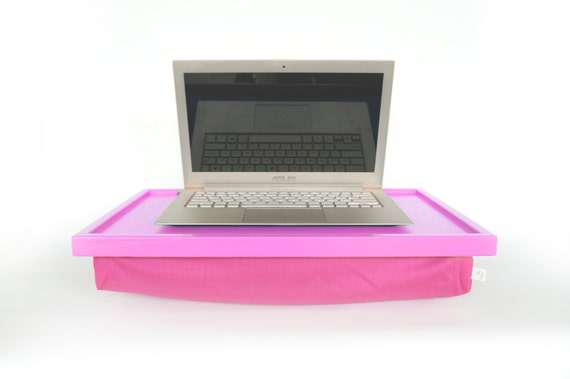 Laptop stand, Breakfast serving or Laptop Lap Desk- Hot Pink with bright pink, fuchsia pillow
