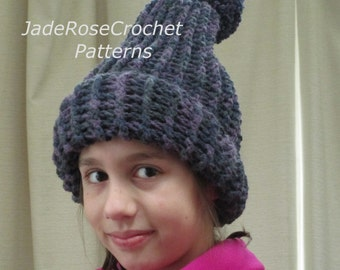 Crochet Hat Pattern, Pixie Hat Pattern, Childrens Crochet Hat Pattern, Pom Pom Hat Pattern, Ages 1 - 12, PDF402