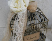 Birdcage Wedding Card Holder / Rustic Birdcage / Burlap Wedding Card Holder / Rustic Wedding / Small Birdcage / Wedding Decor / Wedding Cage