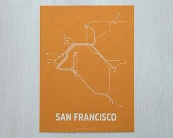 San Francisco Lineposter Sm Screen Print - Butcher Orange/White