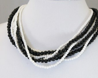 Multi Strand Black and White Bead Necklace