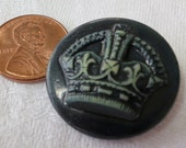 """1X1"""" ins celluloid  vintage button, crown in relief on face. Crown similar to that of George V of England. Self tunnel.UNK12.4-15.3-6.16."""