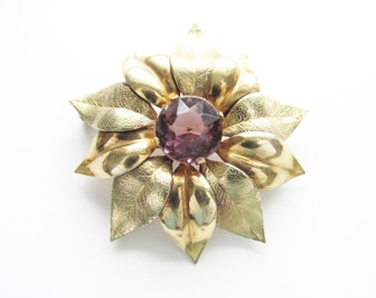Vintage Amethyst Rhinestone Flower Brooch GF signed Adorna 1940s