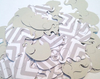 100 Light Grey Gray Chevron Elephant Confetti Cutout Punch Die Cut Embellishment Scrapbook