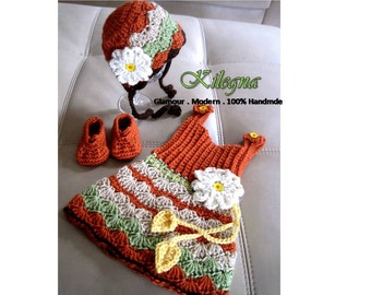 First Thanksgiving Outfit gobble Baby Outfit Pumpkin turkey Crochet Dress Shoes Bonnet 0-3 month Take Home  LAST ONE ready to ship