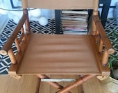 Bamboo directors chair. Vintage bamboo chair. Pair of chairs