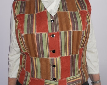 Rust and green patchwork women's clasic vest - size XL women's vest, ready to ship