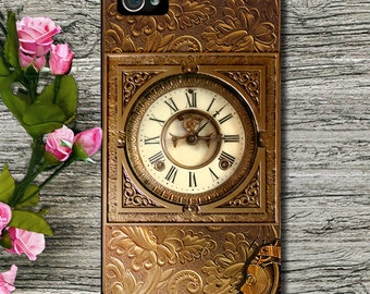 Phone Case - iPhone 6 - 6 Plus - 4/4S- 5/5S -5C Case -  Gold Steampunk Clock (Picture Image) for Him or Her - Plastic, Rubber or Tough Case