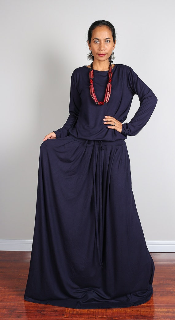 Maxi Dress Long Sleeve Navy Blue Modest Dress : MODEST