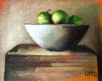 Green Apples On Linen • Original Art • Oil Paintings • Daily Painters • Daily Painting