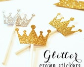 READY TO SHIP | Glitter Crown Stickers. Gold and Silver Foil Tiara adhesive labels Set of 24 - Weddings