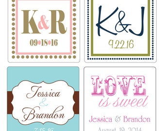 260 - 2 inch Custom Glossy Waterproof Wedding Stickers Labels - many designs to choose - change designs to any color, wording etc